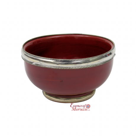 Moroccan Ceramic Bowl with Silver Edge Handmade in Morocco. 8 cm / 3 in (Burgundy)